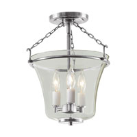 Greenwich 3 Light 11 inch Pewter Semi-Flush Mount Ceiling Light
