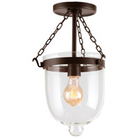 JVI Designs 1191-08 Hundi 1 Light 9 inch Oil Rubbed Bronze Bell Jar Semi-Flush Mount Ceiling Light