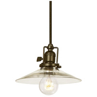 JVI Designs Union Square 1 Light Mini Pendant in Weathered Bronze with 8in Clear Mouth Blown Glass 1200-02-S1