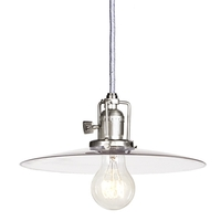 JVI Designs Union Square 1 Light Mini Pendant in Pewter with 10in Clear Mouth Blown Glass 1200-17-S6