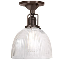 Union Square 1 Light 7 inch Oil Rubbed Bronze Flush Ceiling Mount Ceiling Light in Clear Ribbed, S5