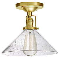 Union Square Bailey 1 Light 10 inch Satin Brass Flush Mount Ceiling Light in Clear Bubble Glass