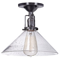Union Square 1 Light 10 inch Gun Metal Flush Mount Ceiling Light in S2, Seeded