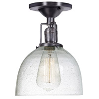 Union Square 1 Light 7 inch Gun Metal Flush Mount Ceiling Light in S5, Seeded