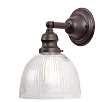 Union Square 1 Light 7 inch Oil Rubbed Bronze Wall Sconce Wall Light in Clear Ribbed, S5