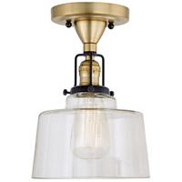 JVI Designs 1222-10-S14 Nob Hill 1 Light 7 inch Satin Brass and Black Flush Ceiling Mount Ceiling Light
