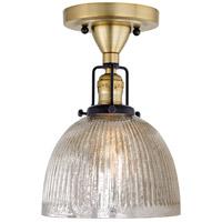 JVI Designs 1222-10-S5-MP Nob Hill 1 Light 7 inch Satin Brass and Black Flush Ceiling Mount Ceiling Light