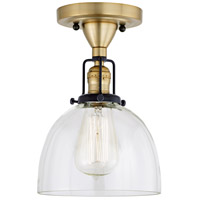 JVI Designs 1222-10-S5 Nob Hill 1 Light 7 inch Satin Brass and Black Flush Ceiling Mount Ceiling Light