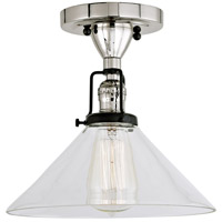 JVI Designs 1222-15-S2 Nob Hill 1 Light 1 inch Polished Nickel and Black Flush Ceiling Mount Ceiling Light