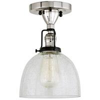JVI Designs 1222-15-S5-CB Nob Hill 1 Light 7 inch Polished Nickel and Black Flush Ceiling Mount Ceiling Light