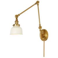 JVI Designs 1257-10-M2-IV Soho 33 inch 100 watt Satin Brass and Ivory Swing Arm Wall Sconce Wall Light