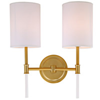 Hudson 2 Light 14 inch Satin Brass Wall Sconce Wall Light