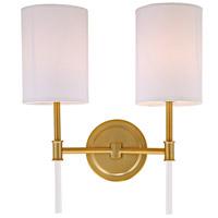 JVI Designs 1266-10 Hudson 2 Light 14 inch Satin Brass Wall Sconce Wall Light