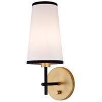 JVI Designs 1275-10 Bellevue 1 Light 6 inch Satin Brass and Black Wall Sconce Wall Light