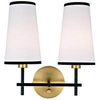 JVI Designs 1276-10 Bellevue 2 Light 14 inch Satin Brass and Black Wall Sconce Wall Light