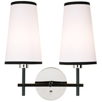 JVI Designs 1276-15 Bellevue 2 Light 14 inch Polished Nickel and Black Wall Sconce Wall Light