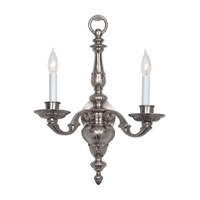 Georgian 2 Light 17 inch Pewter Wall Sconce Wall Light