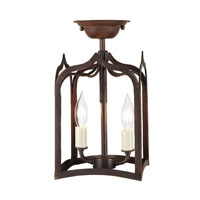 Gothic 2 Light 7 inch Rust Semi Flush Lantern Ceiling Light