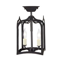 Gothic 2 Light 7 inch Matte Black Semi Flush Lantern Ceiling Light