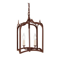 Gothic 2 Light 9 inch Rust Foyer Lantern Ceiling Light