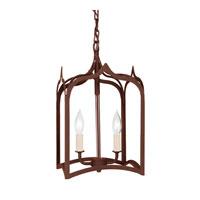JVI Designs 3001-22 Gothic 2 Light 9 inch Rust Foyer Lantern Ceiling Light