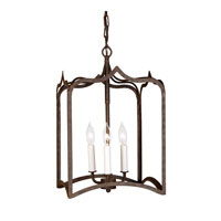 Gothic 3 Light 12 inch Rust Hanging Lantern Pendant Ceiling Light