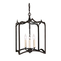 Gothic 3 Light 12 inch Matte Black Foyer Lantern Ceiling Light