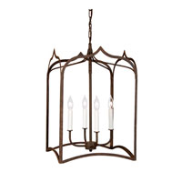 Gothic 4 Light 15 inch Rust Hanging Lantern Pendant Ceiling Light