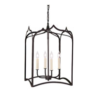 Gothic 4 Light 15 inch Matte Black Hanging Lantern Pendant Ceiling Light