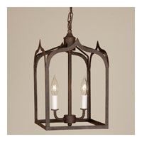 Gothic 2 Light 9 inch Rust Hanging Lantern Pendant Ceiling Light
