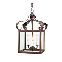 Scroll 3 Light 12 inch Rust Foyer Lantern Ceiling Light