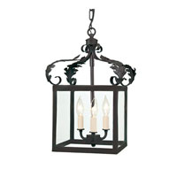 JVI Designs 3011-26 Scroll 3 Light 12 inch Matte Black Foyer Lantern Ceiling Light