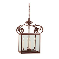 Scroll 4 Light 14 inch Rust Hanging Lantern Pendant Ceiling Light