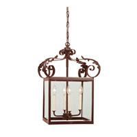 JVI Designs Scroll 4 Light Hanging Lantern Pendant in Rust 3012-22 photo thumbnail