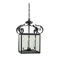 JVI Designs Scroll 4 Light Hanging Lantern Pendant in Matte Black 3012-26