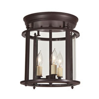 JVI Designs Murray Hill 3 Light Medium Semi-Flush Mount in Oil Rubbed Bronze with Bent Glass 3018-08
