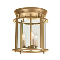 Murray Hill 3 Light 13 inch Rubbed Brass Flush Mount Ceiling Light
