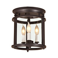 JVI Designs Murray Hill 3 Light Small Semi-Flush Mount in Oil Rubbed Bronze with Bent Glass 3019-08