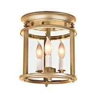 Murray Hill 3 Light 8 inch Rubbed Brass Flush Mount Ceiling Light