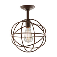 Globe 1 Light 9 inch Rust Flush Mount Ceiling Light