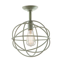JVI Designs Globe 1 Light Semi-Flush Mount in Aged Silver 3029-23