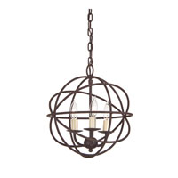 Globe 3 Light 12 inch Rust Chandelier Ceiling Light