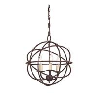 JVI Designs 3030-22 Globe 3 Light 12 inch Rust Chandelier Ceiling Light
