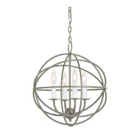 Globe 4 Light 15 inch Aged Silver Chandelier Ceiling Light