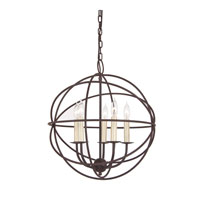 Globe 5 Light 18 inch Rust Chandelier Ceiling Light