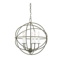 Globe 5 Light 18 inch Aged Silver Chandelier Ceiling Light