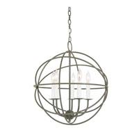 JVI Designs 3032-23 Globe 5 Light 18 inch Aged Silver Chandelier Ceiling Light