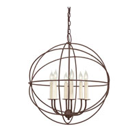 Globe 6 Light 22 inch Rust Chandelier Ceiling Light
