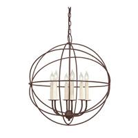 JVI Designs 3033-22 Globe 6 Light 22 inch Rust Chandelier Ceiling Light