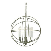 Globe 6 Light 22 inch Aged Silver Chandelier Ceiling Light